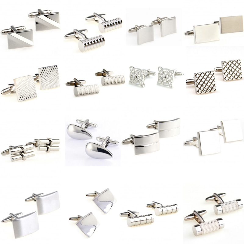 Hot Sale 18 Styles Silver Stainless Steel Metal Cufflink Cuff Link 1 Pair Free Shipping Biggest Promotion(China)