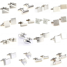 Hot Sale 18 Styles Silver Stainless Steel Metal Cufflink Cuff Link 1 Pair Free Shipping Biggest Promotion cheap Tie Clips Cufflinks Fashion TZG105 Cuff Links Stone Classic Simulated-pearl Various