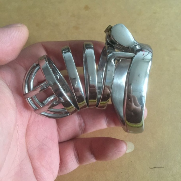 Long cage male chastity penis lock  ball stretcher stainless steel ball stretcher sex ring men cage penis bondage