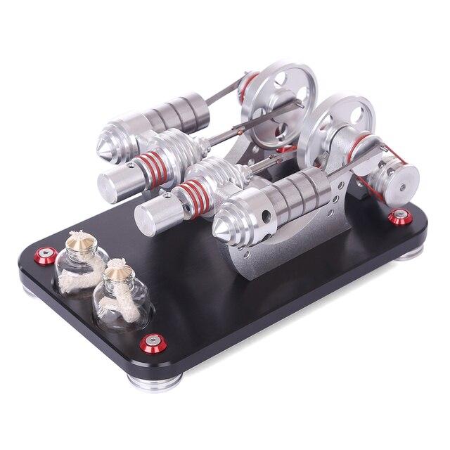 NFSTRIKE Kids Model Building Kits Metal 2-cylinder Parallel Bootable Stirling Engine Micro External Combustion Engine Model New