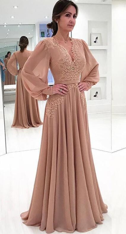 Muslim Evening Dresses 2019 A-line Long Sleeves Pearls Lace Islamic Dubai Kaftan Saudi Arabic Long Formal Evening Gown Weddings & Events