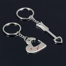Novelty arrow Chaveiro Couple Keychain Lovers Heart Key Chain Ring Llaveros Casual Trinket Jewelry Valentine's Day Wedding Gift