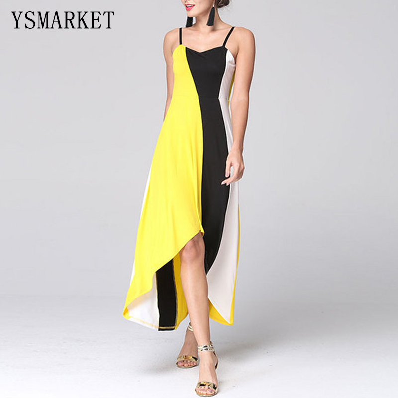 2017 Summer Yellow Black Patchwork Party Midi Dress Sexy Women Off Shoulder Spaghetti Strap Backless Bodycon Loose Dress H9272