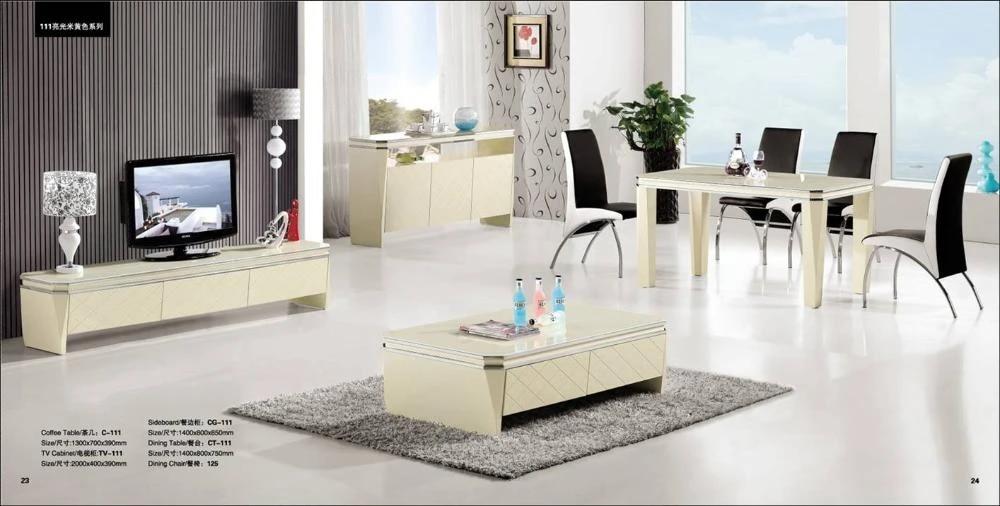 ensemble de salon beige clair table basse 4 pieces meuble tv buffet et ensemble de table a manger meubles modernes yq111