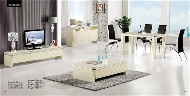 Light Beige Living Room Set 4 Piece Coffee Table,TV Cabinet, Sideboard And  Dinning