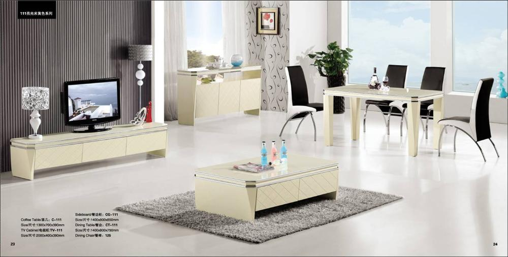 Light Beige Living Room Set 4 Piece Coffee TableTV Cabinet Sideboard And Dinning