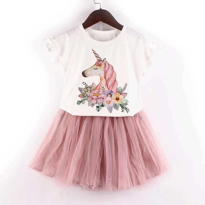 2019 New Summer time Child Woman Unicorn Garments Ladies Clothes Units Cartoon Flamingo Quick Sleeve T-shirt+Skirt Informal 2PCS Children Fits Clothes Units, Low cost Clothes Units, 2019 New Summer...