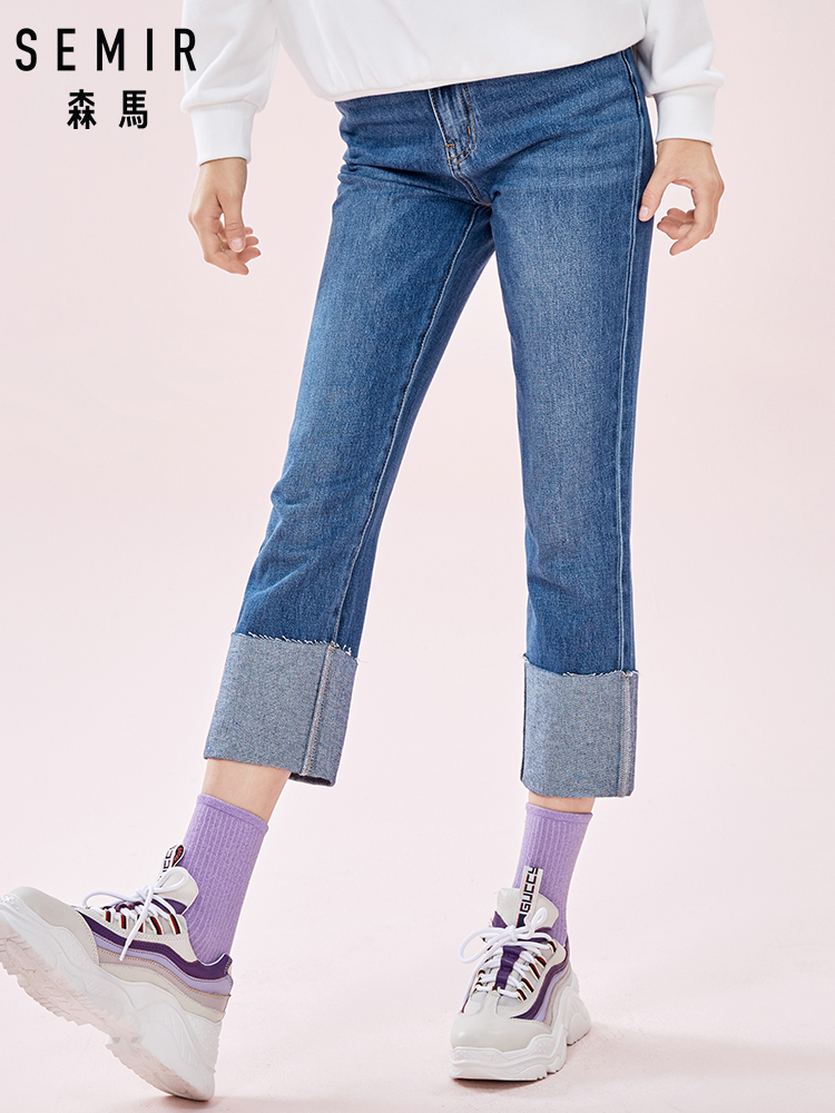 SEMIR Women High Rise Washed Jeans Regular Fit Straight-leg Jeans Girls Cropped Jeans With Rolled Hem Crop Pants Fashion