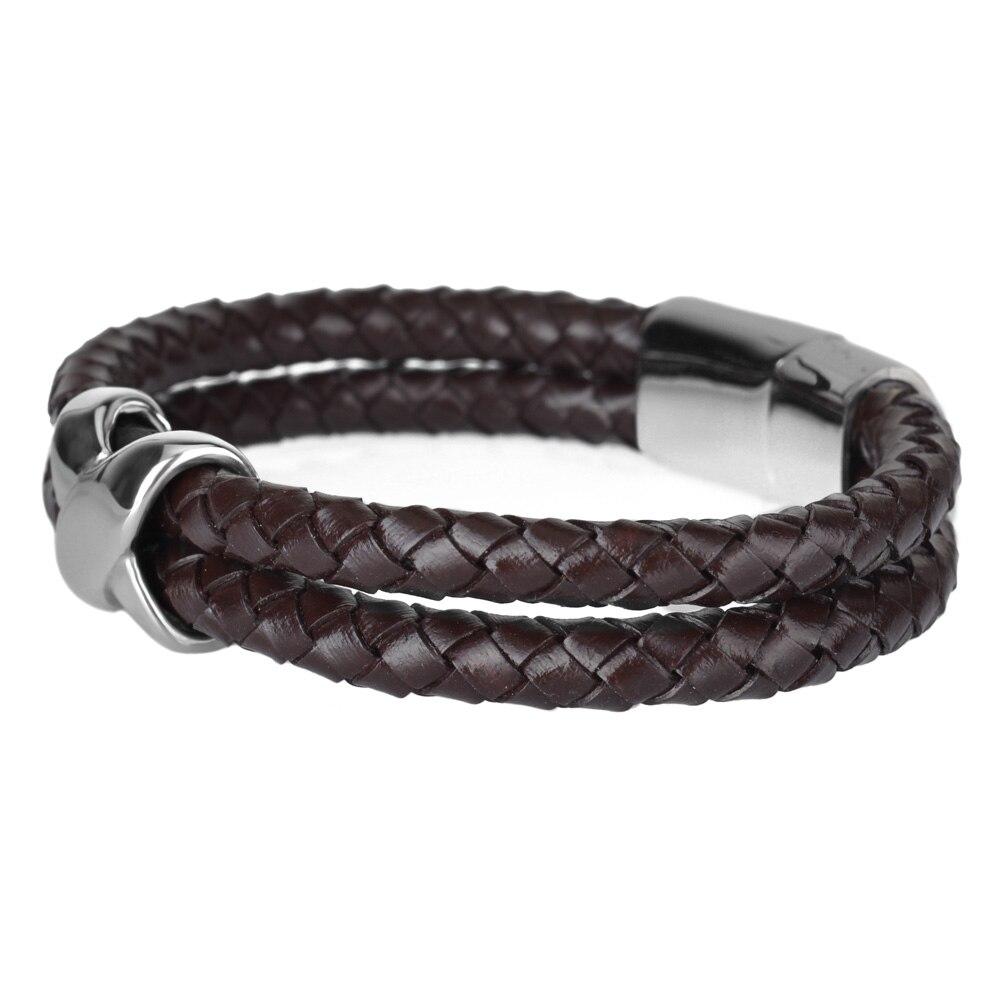 Kirykle style minimaliste croix acier inoxydable Bracelets bijoux religieux aimant fermoir multicouche tressé bracelet en cuir 3