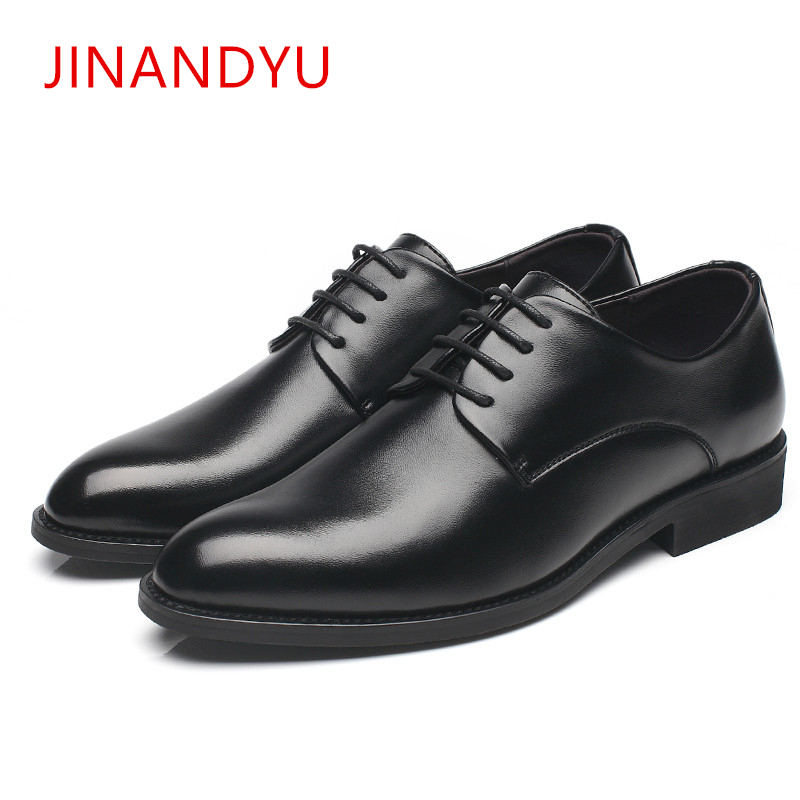 Fashion Men Dress Shoes Leather Oxford hidden heel Shoes for Men 2019 Brand Casual Business Formal Wedding Men Shoes Lace Up