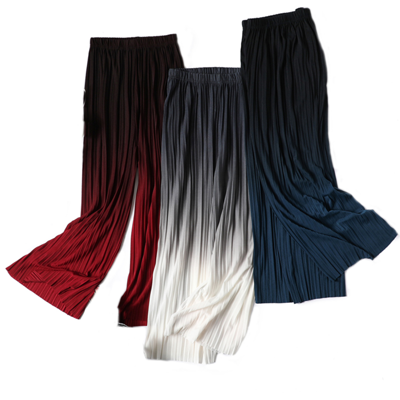 New Fashion Gradient Women Chiffon   Wide     Leg     Pant   Casual Ankle-Length Pleated   Pant   Summer Female Eastic Waist Thin   Pants   Trousers