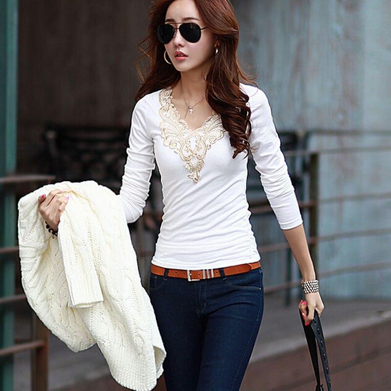 Fashion Autumn Sexy V-neck Lace Crochet Shirt Women Long Sleeve Blouse Women's Shirt Blouse Tops HO666835
