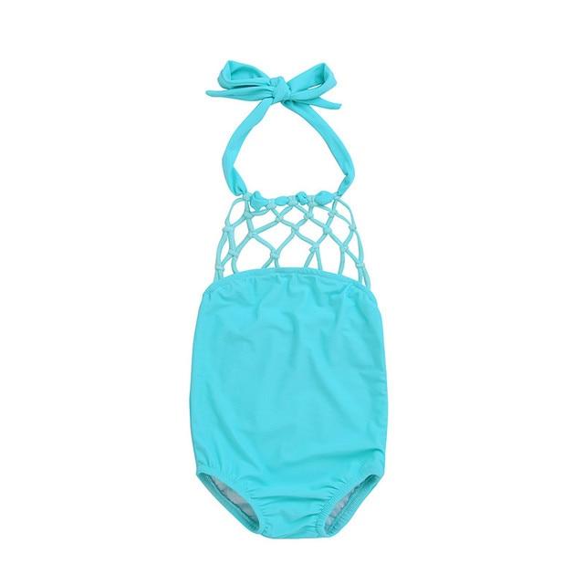 05486bbabaeb20 Kids Baby Meisjes Effen Knipsel Halter Netto Hemelsblauw Tankini Bikini Een  Stuk Suits Badmode Badpak Badpak