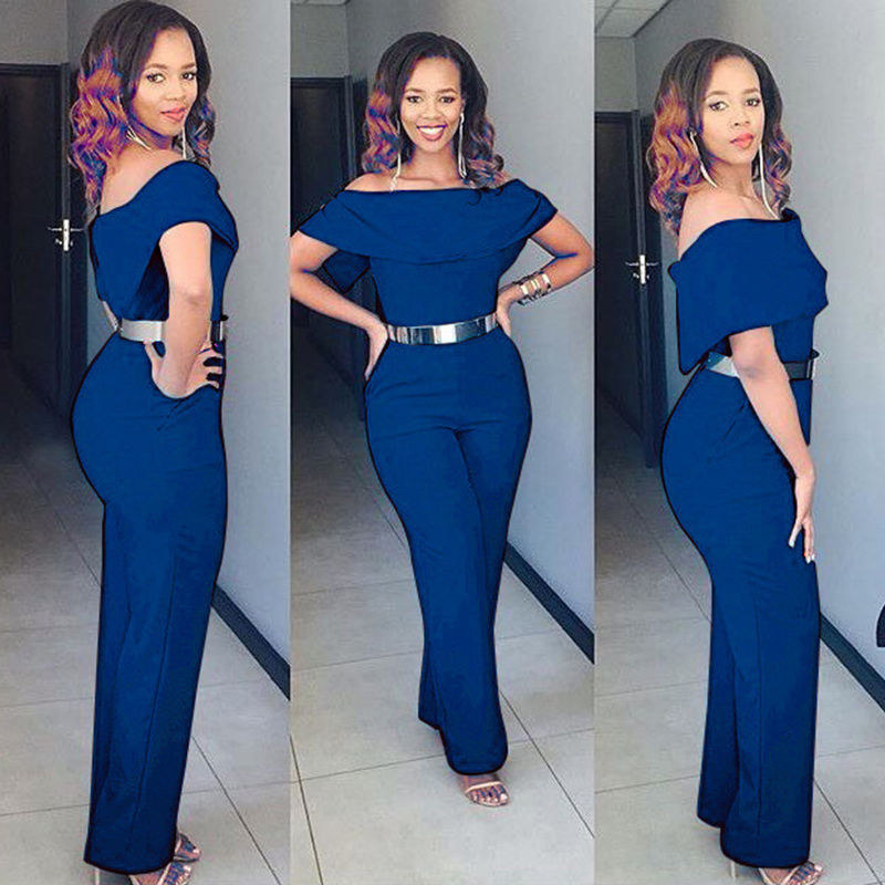 NEW Women Ladies Off Shoulder Plus Size Summer Playsuit Bodycon Party Jumpsuit Romper Casual 3 Colors Solid Rompers Trousers