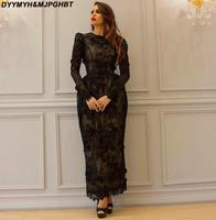 Beaded Applique Black Evening Dresses Long Sleeve Prom Dress Tea Length Plus Size Arabian Party Gowns
