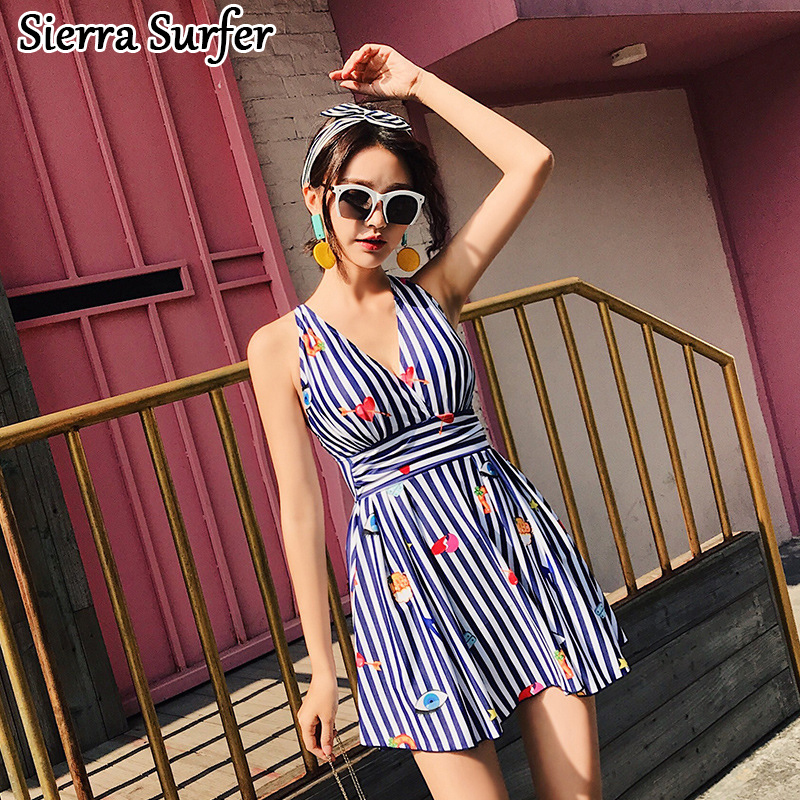 Bathing Suit Women Swimwear One Piece Clothes 1 Swimsuit Woman Ladies Sexy Swim Suits 2018 Korean New Striped Dress Swimming cheap sexy bathing suits swim suit one piece plus size swimwear womens wear 2017 new korean lovely woman lace triangle badpak
