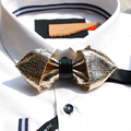 New Free Shipping 2016 fashion casual Men's MALE man personality bow tie Design velvet retro gold leather marriage tie ON SALE