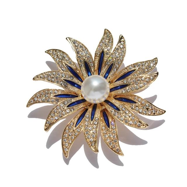 Conosciuto Doppio Girasoli Fiore di Cristallo Grande Spilla Pins Ciondolo  AC18