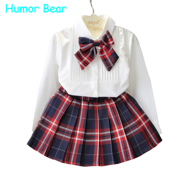 Humor Bear Autumn KidsTracksuit Baby Girl Clothes Girls Clothing Sets Long Sleeve+Grid Skirt +bowknot Casual 3PCS girls suits