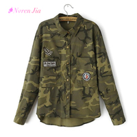 Long Jacket Women Military Camouflage Blouse Coat Casual Fashion Jaqueta Feminina Chaquetas