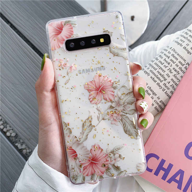 FLYKYLIN purpurina flor funda para Samsung Galaxy S9 S10 Plus S10e funda trasera en Note 8 9 silicona TPU suave funda de teléfono de lámina de oro