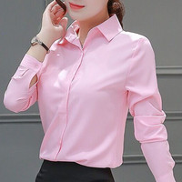 Женские блузы хлопковые топы и блузки повседневные с длинным рукавом Женские рубашки розовый/Белый Blusas Плюс размер XXXL/5XL Blusa Feminina Топы