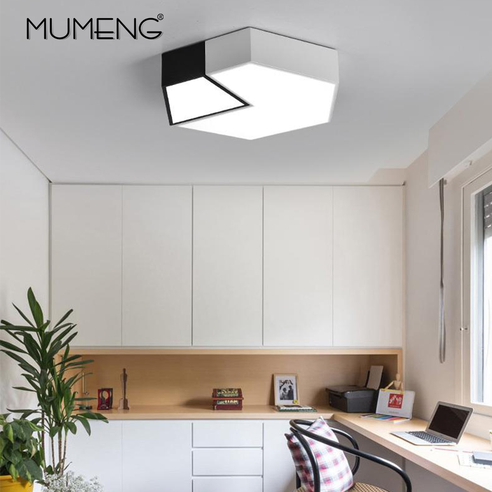 Modern LED Ceiling Light Creative Simple Hexagon Lighting Fixture  Office Bedroom Living Room Study Room Panel Remote Control Modern LED Ceiling Light Creative Simple Hexagon Lighting Fixture  Office Bedroom Living Room Study Room Panel Remote Control