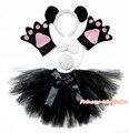 Halloween Party Kids Drama Panda Headband Paw Tail Bow Black Gauze Skirt Costume PC078