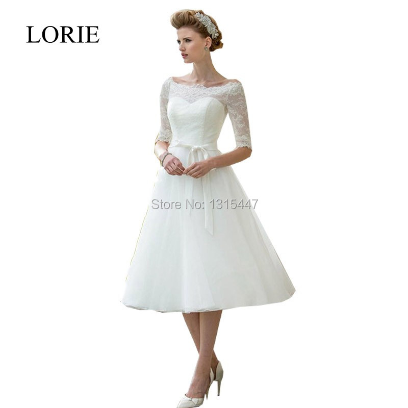 Vintage Tea Length Wedding Dress Promotion Shop For Promotional Vintage Tea Length Wedding Dress