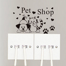 Paw Prints Love Hearts Grooming Salon Switch Decal Cat And Dog Pet Shop  Wall Sticker Decor A3413