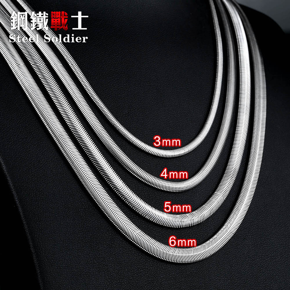 Steel soldier snake Chain Necklace 3/4/5/6mm Width Stainless Steel Silver Color for Boy and Girl High Quality jewelry