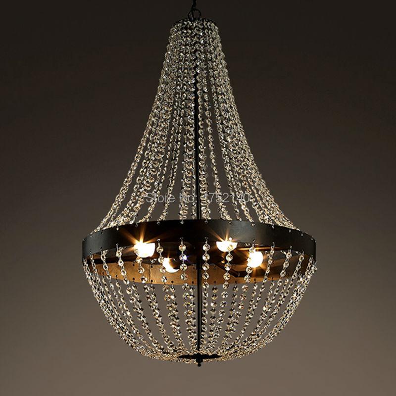 Us 429 0 American Country Pendant Lights K9 Crystal Iron Mediterranean Light Lamp Bedroom Living Room Lighting Fixture Art Deco Lampion In