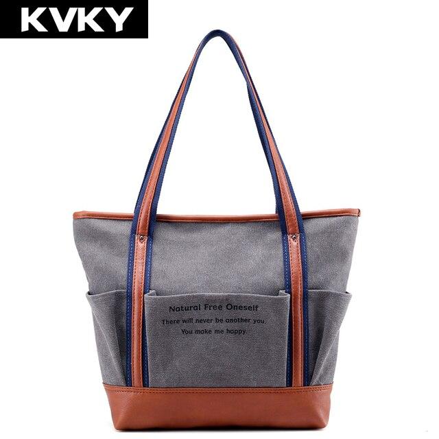 Kvky Brand Women Bags Canvas Handbags Female Shoulder Designer Las Tote High Quality Casual
