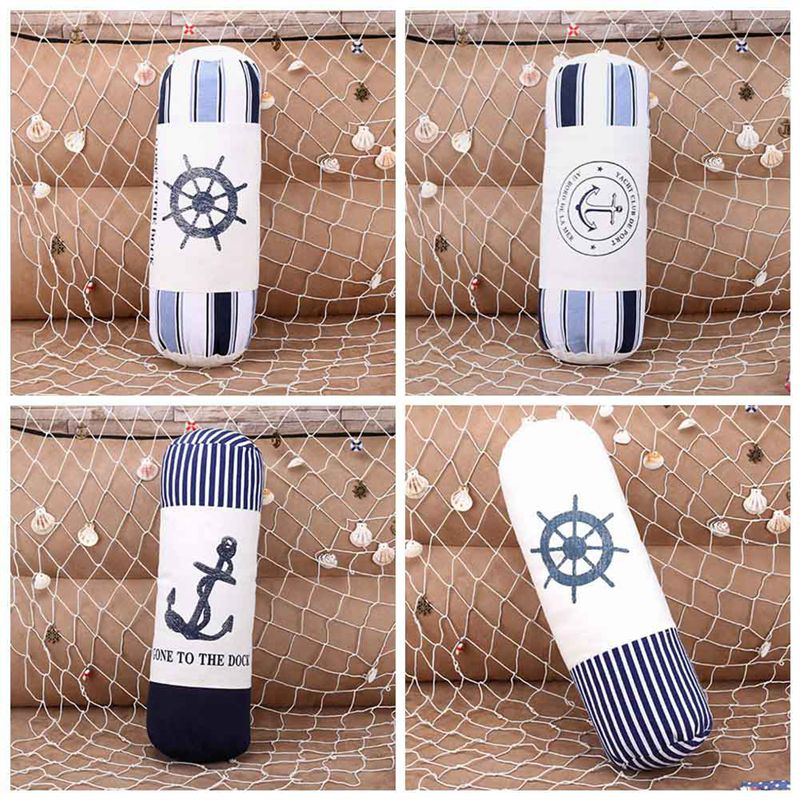 cotton pillow cushion office nap pillow Cylindrical Shaped Style Sea Anchor Cushion Cotton Linen Home Sofa Pillow Decoration