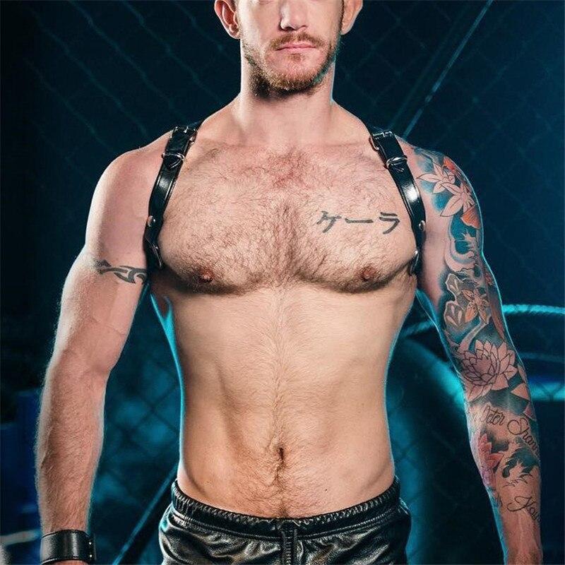 Men's Sexy Adjustable Bondage Leather Belt Suspenders Chest Straps Harness Buckles Faux Leather Belts