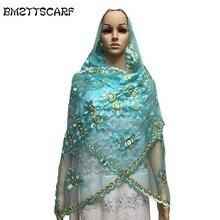 Африканские шарфы Малый размеры шарф из тюли 2,1*0,5 м с Стразы платок для шали BM638