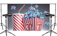 Gray Background with A Box Full of 3D with Cola Photography Background Studio Props Wall Cinema Background Wall 150x220cm