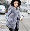 100% реальная съемка! фокс меховой жилет gile дизайн одежды Зима Женщины искусственного Меха Жилет Высокого качества Роскошный Меховой colete Теплый норки пальто