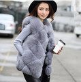 100% de tiro real! fox colete de pele gile design de moda Inverno Mulheres faux Fur Vest Alta qualidade Luxuoso casaco de vison colete De Pele Quente