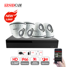 4CH 5MP security CCTV camera system 2592*1944 2pcs AHD Cameras  dome Cameras waterproof ip66 outdoor 5MP AHD DVR night vision