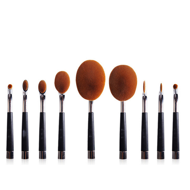 9 unids Golf Kit Powder Foundation Maquillaje Facial Pinceles de Maquillaje Cepillo de Dientes Forma Ovalada Cepillos de Sombra de Ojos Colorete Cosmética Maquillaje