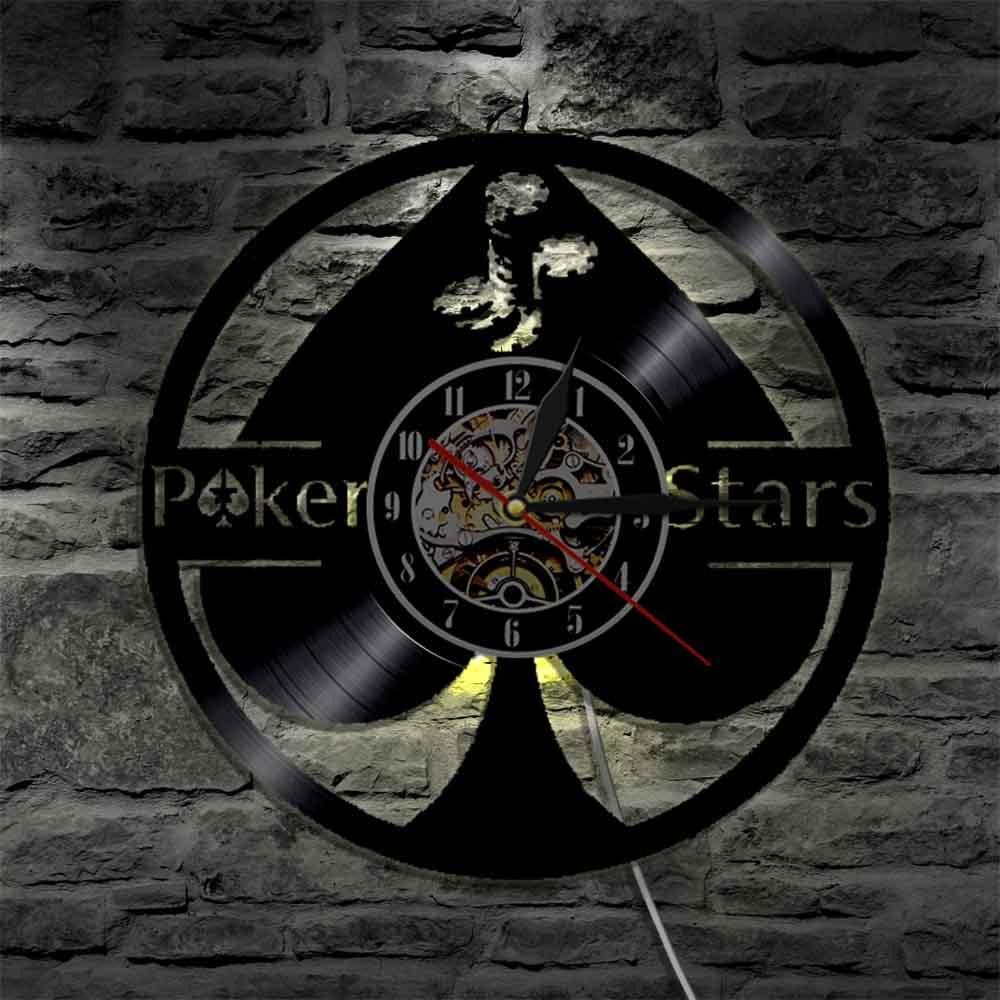 Lucky Poker Ace of Spades Vinyl Record Wall Art 5 Stars Gift Star Tonight Wall Clock Poker Player Vinyl Clock Gamblers Gift