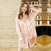 Women Nightwear V Neck Cute Long Sleeve Satin Sleepwear Pijama Silk Home Wear Nightdress Nightgowns & Sleepshirts AD452