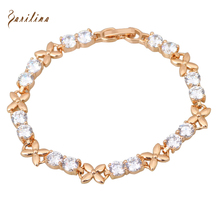 New 2017 White Cubic Zirconia Bracelets Yellow Gold Bracelet Elegant Fashion Jewelry pulseras 17cm 6.69 inch B213