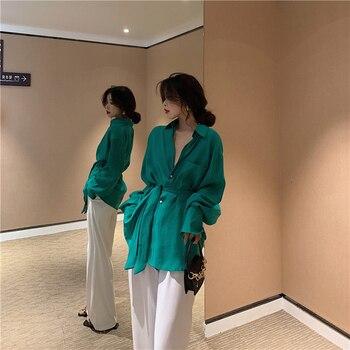 цена на Women Loose Lace Up Blouse Shirt 2019 New fashion Summer Tops Clothing Tunic Shirt Blouse Long Sleeve Peplum
