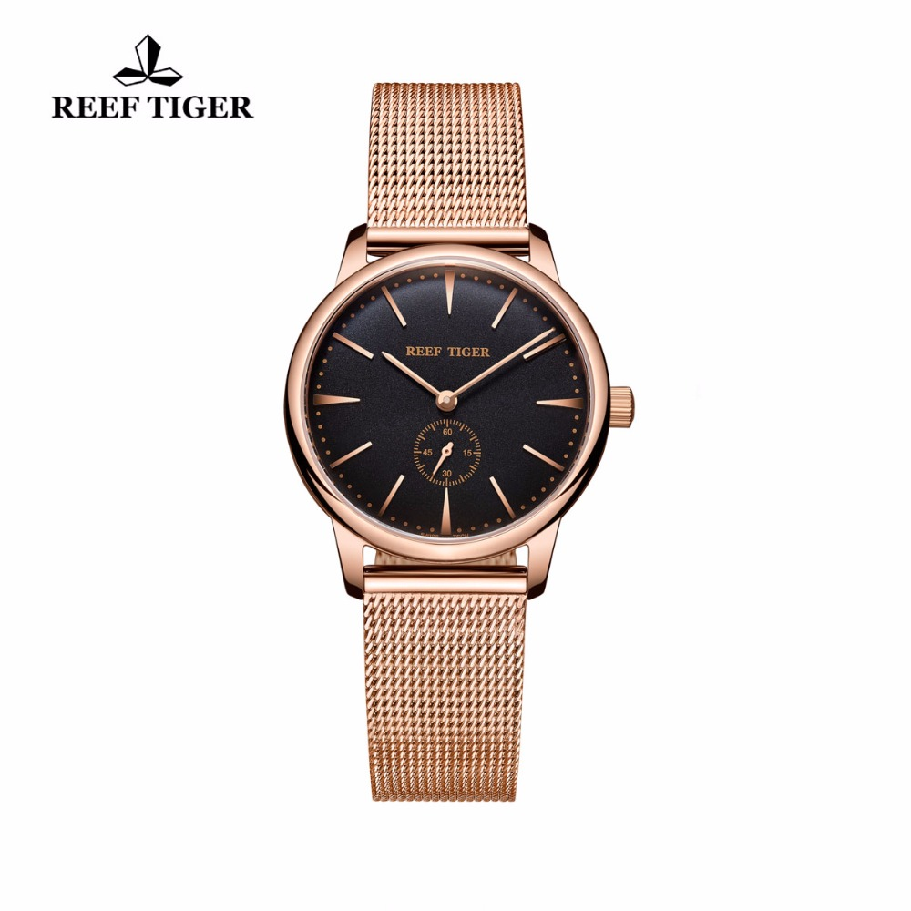 Reef Tiger/RT Luxury Vintage Watch Rose Gold Tone Analog Wrist Watches Ultra Thin Quartz Couple Watches For Women RGA820