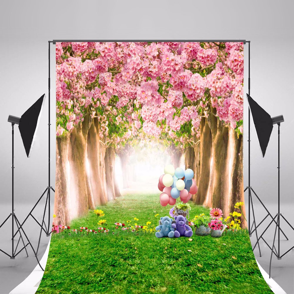 Pink Hazy Flowers Forest Wedding Photo Background Cloth Vintage - Camera and Photo