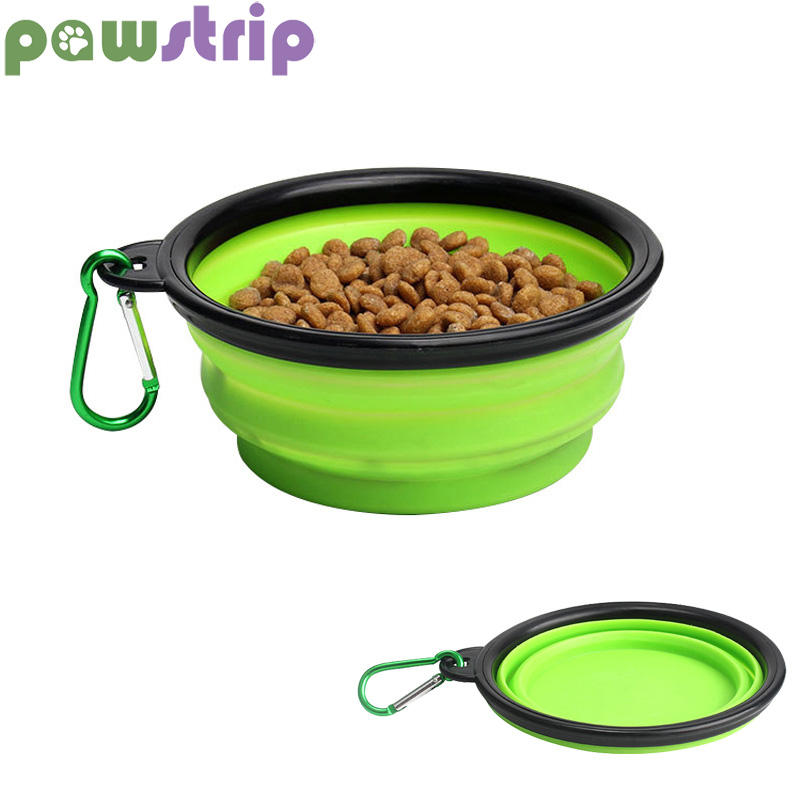 pawstrip 6 Colors Portable Collapsible Dog Bowl Silicone Hiking Travel Dog Food Bowl Puppy Feeder 13*5*9cm
