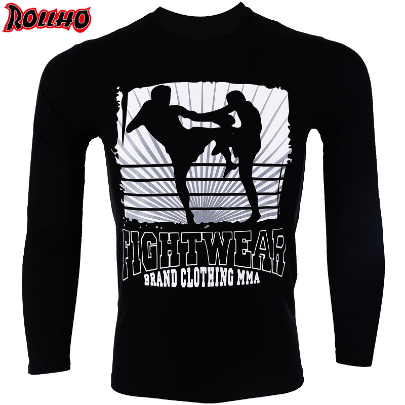ROLLHO Men's Boxing Rash Guard Sublimated Printed Long-sleeved Boxing Shirts Fitness Breathable Quick Dry Tops BJJ Fightwear