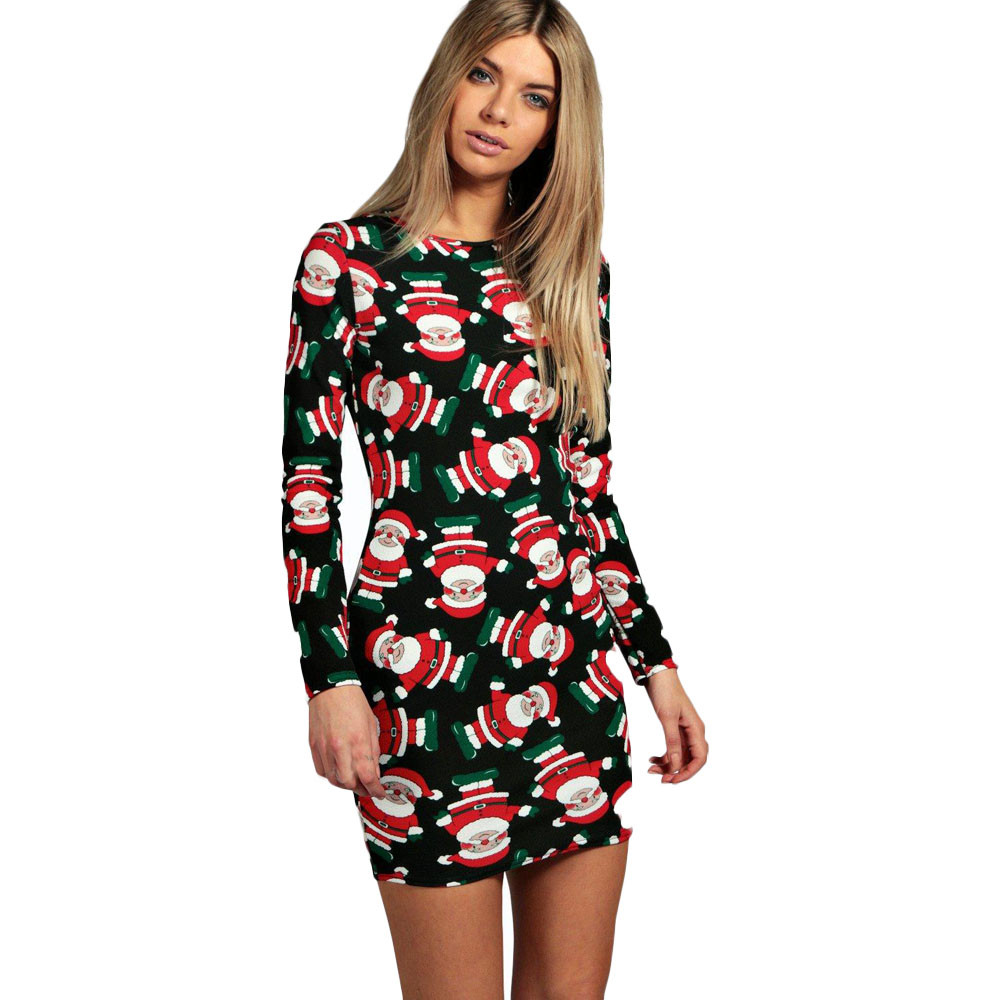 fashion ladies women long sleeve santa printing christmas party swing dress plus size roupa feminina vintage dress vetement lady in dresses from womens